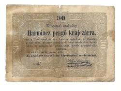 1849 es 30 pengő krajczárra Kossuth bankó papírpénz bankjegy 48 49 es szabadságharc pénze o.xi.