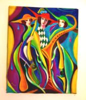 Zenebona / kubista stíl. /Seres Sándor olaj festménye