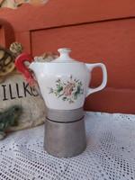 Hollóházi virágos Seherezádé kotyogós porcelán kávéfőző nosztalgia darab paraszti dekoráció