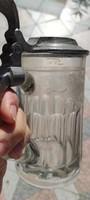 Antik üveg korsó ón fedeles kancsó kanna,,kupa,krigli Csiszolt mintàs