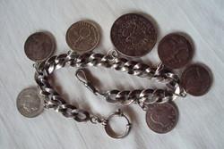 Ritka Gyönyörű ezüst Zsebóra lánc,ezüst pénzekkel díszítve.