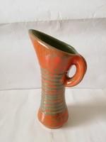 Gorka: repesztett mázas csíkos, art deco stílusú füles váza, hibátlan, 22 cm