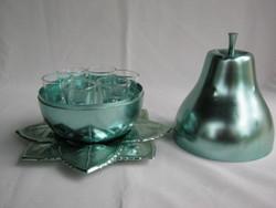 Retro likőrös pálinkás pohár készlet fém gyümölcs alakú tartóban