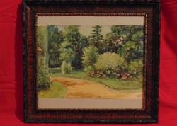 Gebauer Ernő (1882-1962): Parkban - Igényesen megfestett régi akvarell munka, gyűjtőre várva
