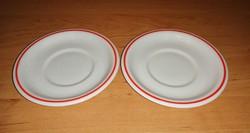 Zsolnay porcelán piros csíkos csésze alátét alj párban 12,2 cm (2p)