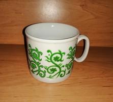 Zsolnay porcelán zöld mintás bögre (9/d-2)