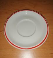 Zsolnay porcelán piros csíkos csésze alátét alj 13,5 cm (2p)