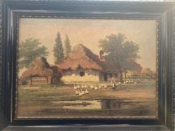Páll Lajos - Parasztház festmény