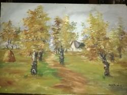 Őszi erdő olaj ,karton   olvashatatlan szignóval