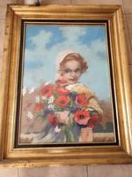 Abonyi : Szőke kislány pipaccsal festmény 50x70 cm eladó!