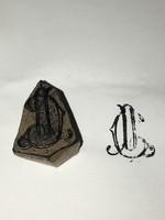 Antik /1800- as évek/ G.P. Monogramos Kékfestő pecsétnyomó!! Faragott fába illesztett Réz iniciálés