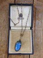 Antik Art Nouveau réz nyaklánc üveg kővel, tűzzománc díszítéssel