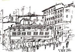 Arató István (1922-2010): Siena főterén - egyedi rajz az európai városképek sorozatból