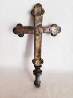 Antik réz ereklyetartós (?) feszület
