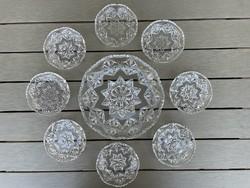 Gyönyörű hibátlan ólomkristály süteményes készlet