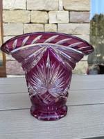 Bordó-fehér gyönyörű ólomkristály váza