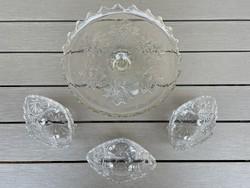 Nagyon szép ólomüveg tortatartó és ólomkristály kompótos tányérok