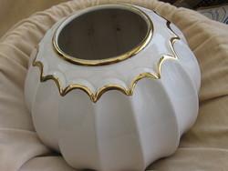 Muzeális ritkaság! Nagy BAY keramik Germany fehér-arany gömb váza