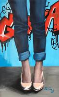 Blue jeans - akrilfestmény