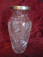 Ezüst peremű csiszolt kristály váza 2103 21