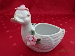 Német porcelán kacsa, asztalközép, hossza 11 cm.