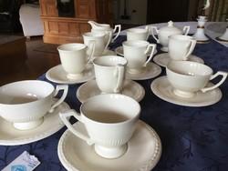 Recamier Royal Creamware francia 6 hosszúkávés, 2 teás, cukortartó, kiöntő, 1 kávés alátéttel (Bor)
