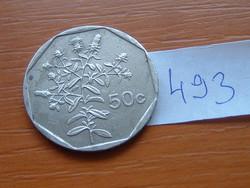 MÁLTA 50 CENT 1995 Küllőrojt (Fleabane) virág,CÍMER 75% réz, 25% nikkel #493