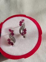 Természetes rubin köves fülbevaló 925 ezüst