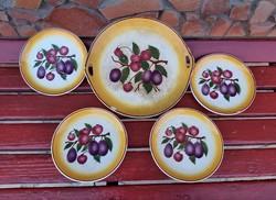 Hollóházi Riolit  süteményes  szett kínáló pecsenyés sütis gyümölcsös készlet paraszti dekoráció