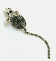 Markazitos extra egyedi  sterling ezüst egérke /925/ bross-új