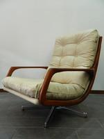 Eredeti skandináv retro / mid century teakfa bőr forgó fotel