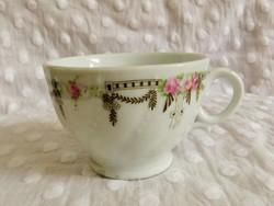 Jelzetlen, szecessziós, rózsás, részben kézzel festett, extra vastagfalú teás csésze