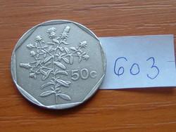 MÁLTA 50 CENT 1991 Küllőrojt (Fleabane) virág,CÍMER 75% réz, 25% nikkel #603