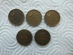 5 darab frank fémpénz LOT !!!