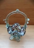 Színes fodros üveg kosár retro dísztárgy 18 cm (6p)