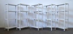 1D872 Öt darab fehér színű fém kamrapolc 150 x 75 x 30 cm