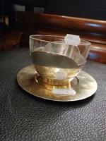 Ezüst   teás csésze es csészealj ART DECO stílusban. Aranyozva.