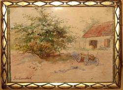 NYÁRI AKCIÓ !!  EREDETI GERHARDT ALAJOSNÉ / 1866- / : FALUSI UDVAR SZEKÉRREL