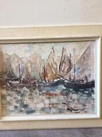 Hajók, 58x43, olaj-vászon