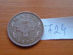 MÁLTA 1 CENT 1977 90-70% Réz, 10-30% Cink,George Cross #724