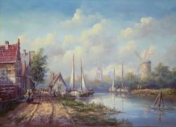 MÉG EZEN A HÉTEN AKCIÓS Fehérvári Zoltán 50x70cm Flamand város a folyóparton