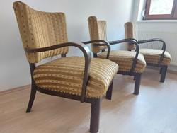 1db Art deco hajlított karfás retro karosszék mid-century fotel