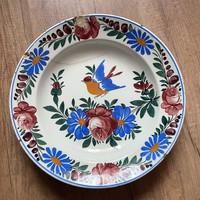 Kb. 32,5 cm-es nagy Apátfavi / Bélapátfalvi népi festett keménycserép tányér ,  falitányér