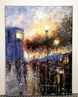 Városi forgatag - Káprázatos kortársfestmény ( 30 x 40, olaj, körül festett )