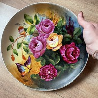 Szép nagy kézi festett pillangós , rózsás falitányér