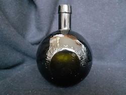 Régi gömb alakú hibátlan MILLENIUM KESERŰ likőrös üveg, 1 Ft-ról