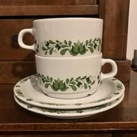 Alföld porcelán Uniset zöld magyaros teás csésze szettek
