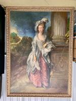 Lady Sheffield olaj-vászon festmény egész alakos portré kastély kertben