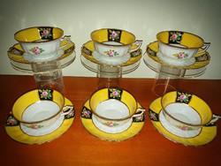 Nagyméretű Fischer Emil antik teás csésze 6 db