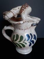 Antik vicces pajzán jelenetes népi kerámia boros kancsó, 26 cm
